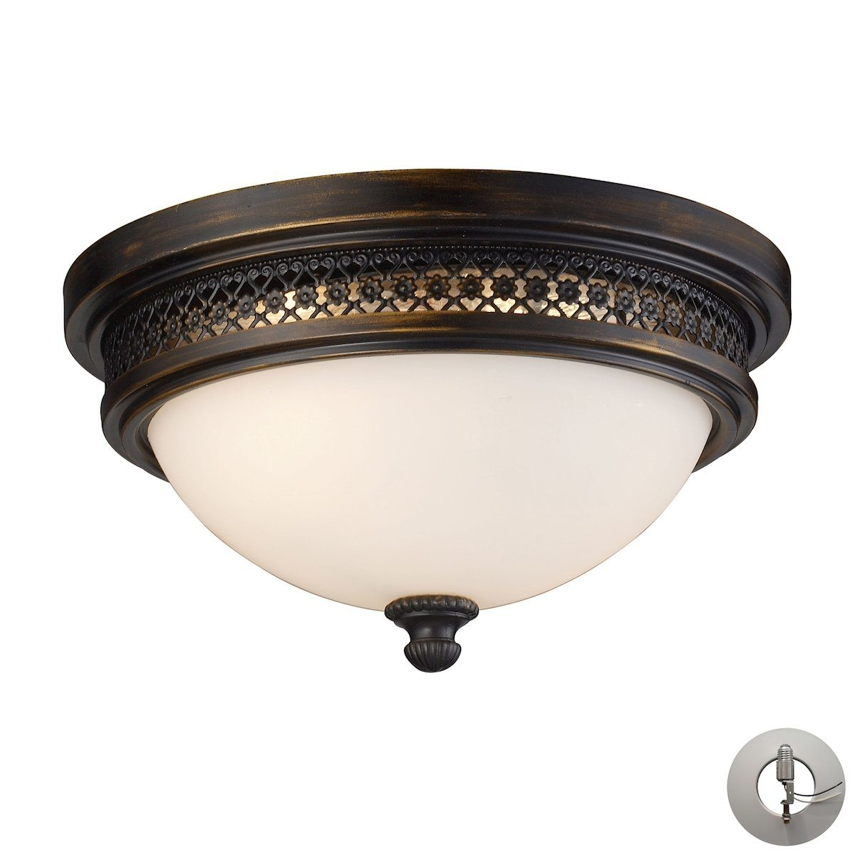 Flushmounts 2 Light Flushmount In Deep Rust And Opal White Glass - Includes Recessed Lighting Kit Flush Mount Elk Lighting