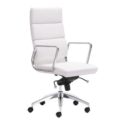 Engineer High Back Office Chair White Furniture Zuo