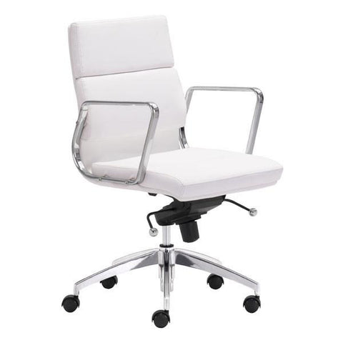 Engineer Low Back Office Chair White Furniture Zuo