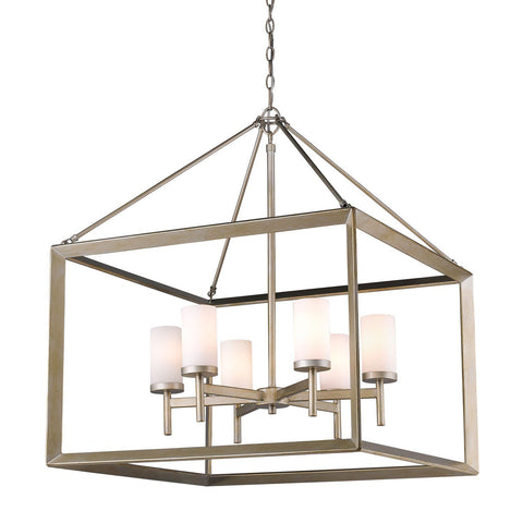 Smyth 6 Light Chandelier in White Gold with Opal Glass
