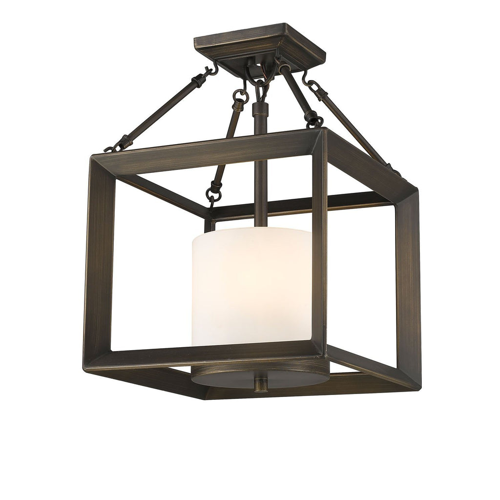 Smyth Converible Semi-Flush in Gunmetal Bronze with Opal Glass Ceiling Golden Lighting Opal