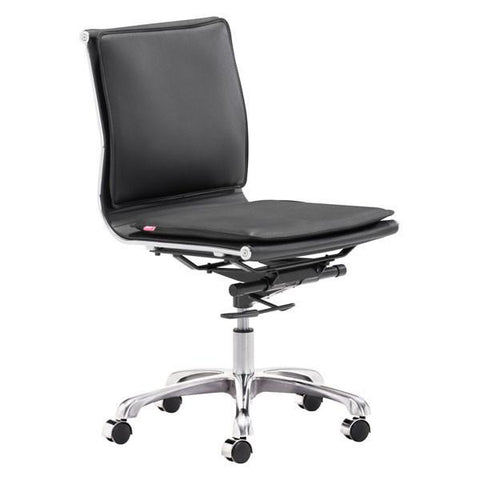 Lider Plus Armless Office Chair Black Furniture Zuo
