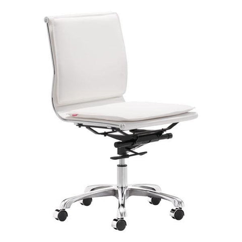 Lider Plus Armless Office Chair White Furniture Zuo