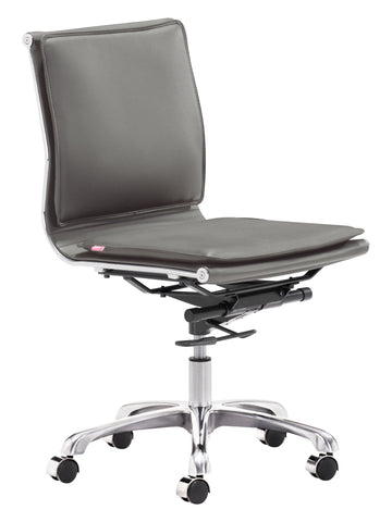 Lider Plus Armless Office Chair Gray Furniture Zuo