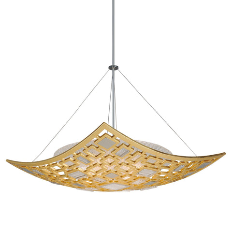 Motif 4 Light Pendant - Gold Leaf W Polished Stainless Ceiling Corbett