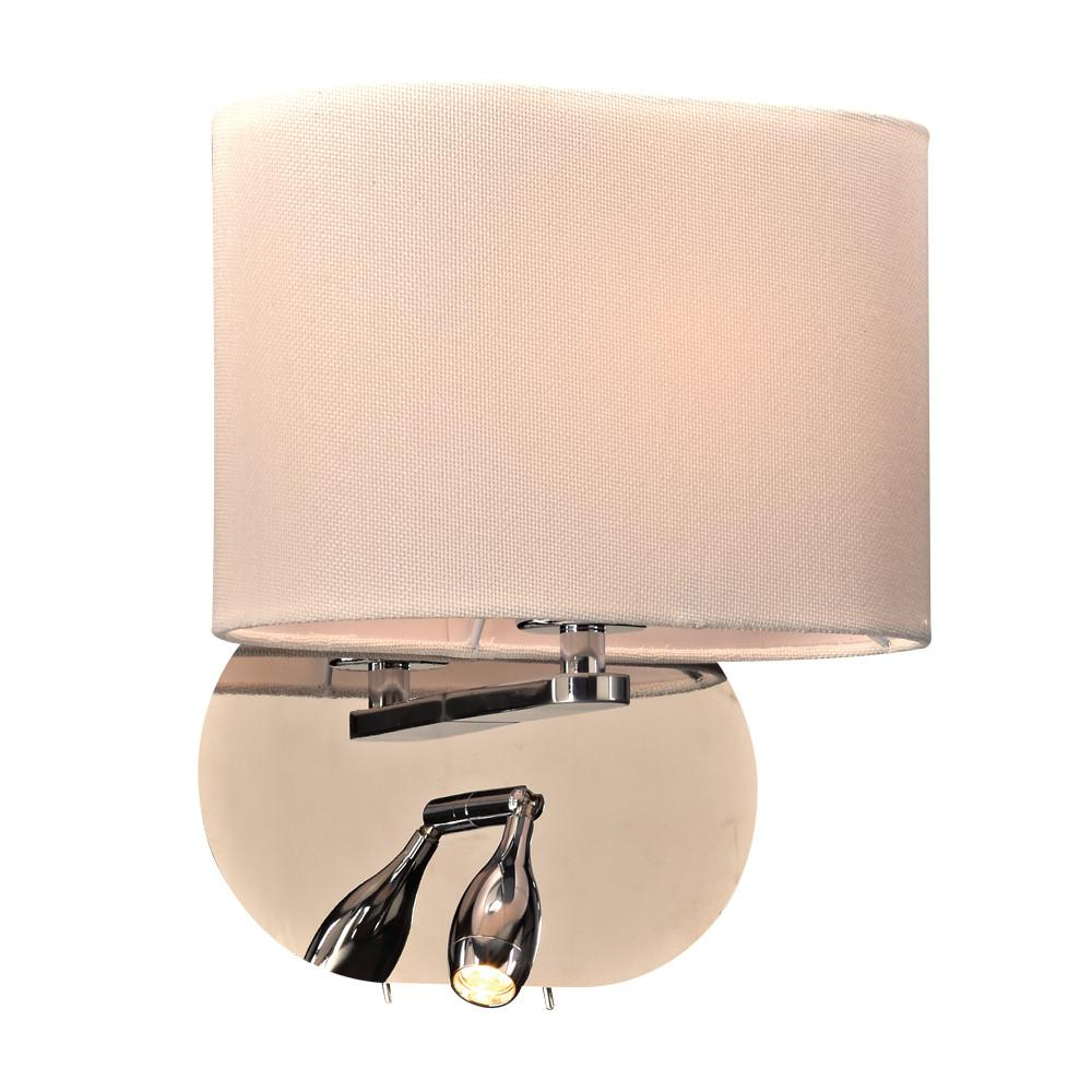 "Mademoiselle 12""h Wall Sconce with Reading Light Wall PLC Lighting Chrome"