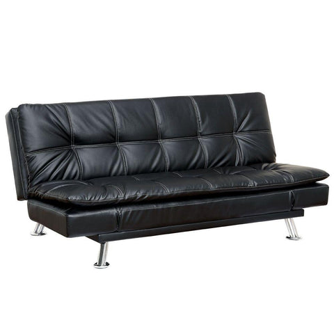 CalvModern Stitched Leatherette Futon Sofa Black Furniture Enitial Lab