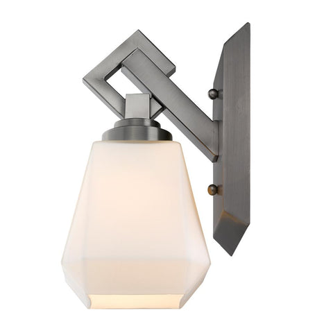 Hollis Wall Sconce/Bath Fixture - Aged Steel with Opal Glass