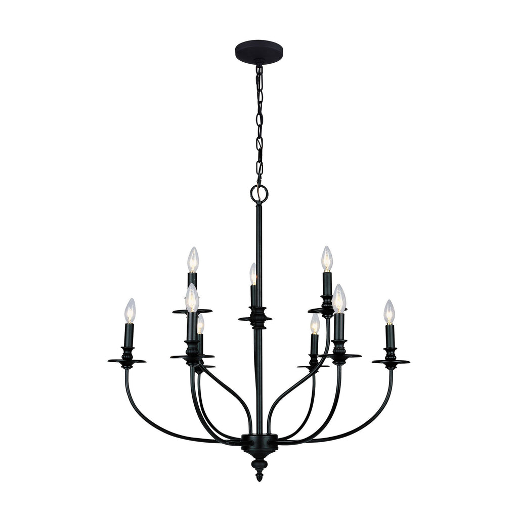 Hartford 9 Light Chandelier In Oil Rubbed Finish Ceiling Elk Lighting