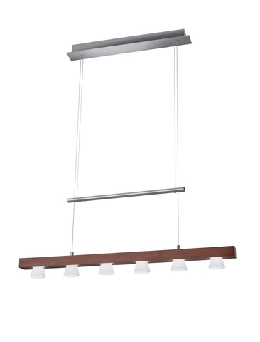 Burlington LED 6 Light Linear Pendant Ceiling Adesso Walnut
