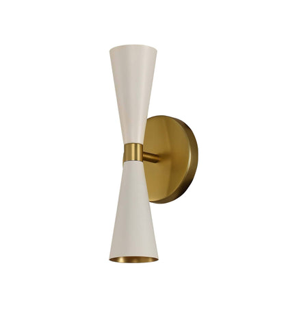 "Milo 12""h 2 Light ADA Wall Sconce - White and Brass"