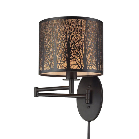 Woodland Sunrise 1 Light Swingarm In Aged Bronze Wall Elk Lighting