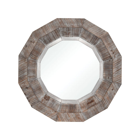 Loggerhead Mirror in Salvaged Grey Oak and German Silver