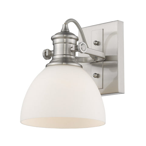 "Hines 8""h Adjustable Wall Sconce / Flush Mount - Pewter with Opal Glass"