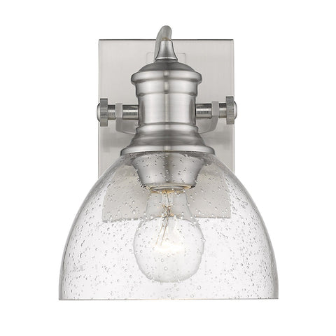 "Hines 8""w Adjustable Wall Sconce / Flush Mount - Pewter with Seeded Glass"