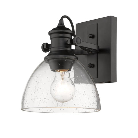 Hines Wall Sconce/Vanity Fixture - Black with Seeded Glass