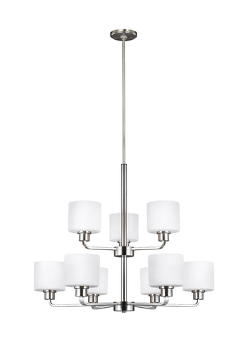 Canfield Nine Light LED Chandelier - Brushed Nickel Ceiling Sea Gull Lighting