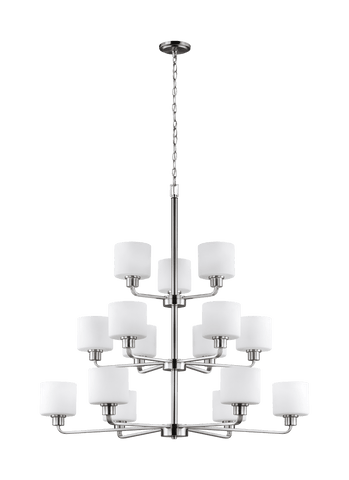 Canfield Fifteen Light Chandelier - Brushed Nickel Ceiling Sea Gull Lighting
