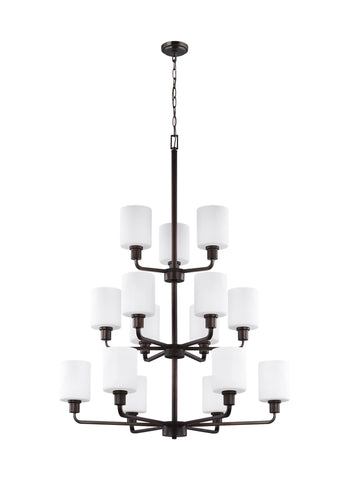 Canfield Fifteen Light LED Chandelier - Burnt Sienna Ceiling Sea Gull Lighting