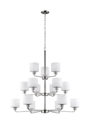 Canfield Fifteen Light LED Chandelier - Brushed Nickel Ceiling Sea Gull Lighting