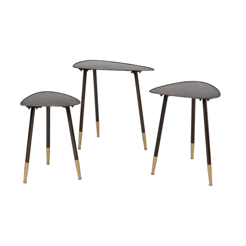 Christian Accent Tables in Oil Rubbed Bronze and Gold (Set of 3)