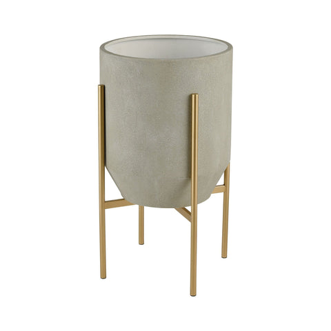 Ramona Indoor Planter in Light Grey Concrete and Gold