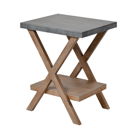 Winterfell Accent Table in Natural Wood and Antique Galvanized Steel
