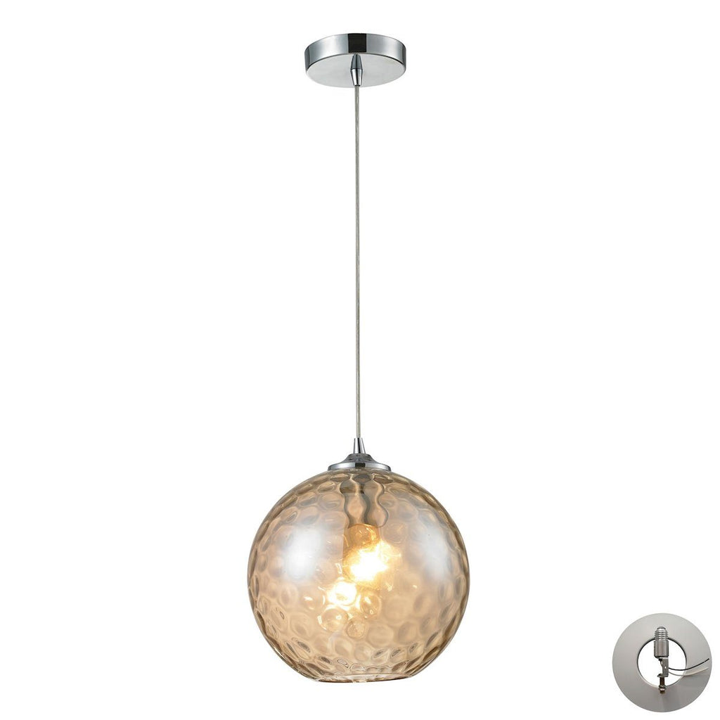 Watersphere 1 Light Pendant In Polished Chrome And Champagne Glass - Includes Recessed Lighting Kit Ceiling Elk Lighting