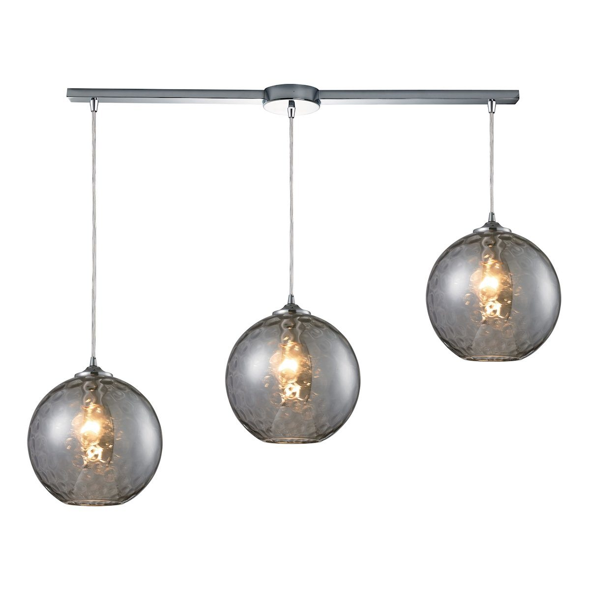 Watersphere 3 Light Pendant In Polished Chrome And Smoke Glass Ceiling Elk Lighting