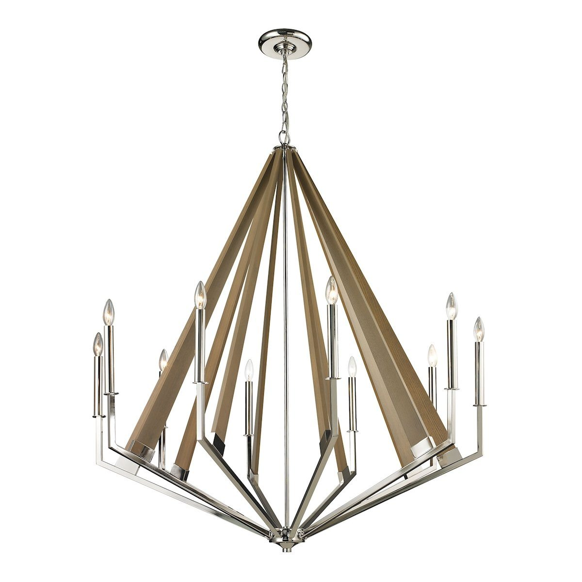 Madera 10 Light Chandelier In Polished Nickel And Natural Wood Ceiling Elk Lighting