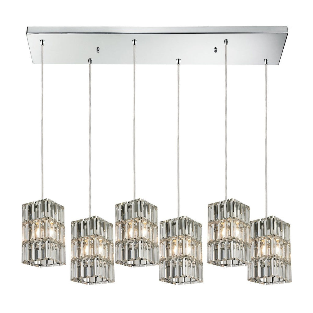 Cynthia 6 Light Pendant In Polished Chrome And Clear K9 Crystal Ceiling Elk Lighting