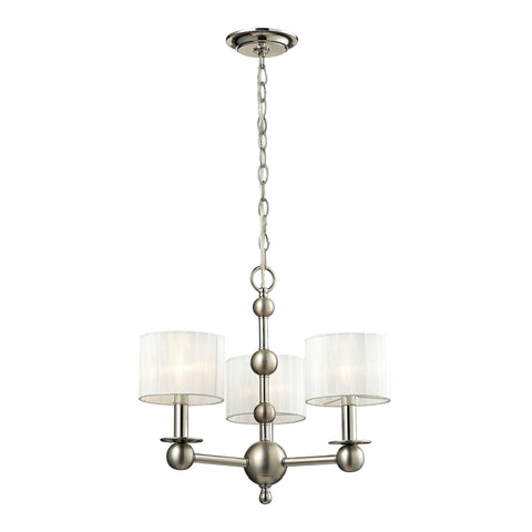Meridian Collection 3 light chandelier in Polished Nickel/Matte Nickel