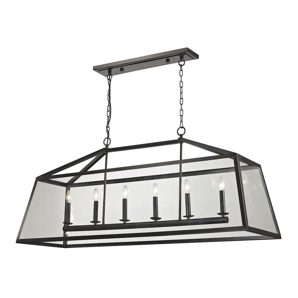 Alanna 6 Light Pendant In Oil Rubbed Bronze And Clear Glass Ceiling Elk Lighting