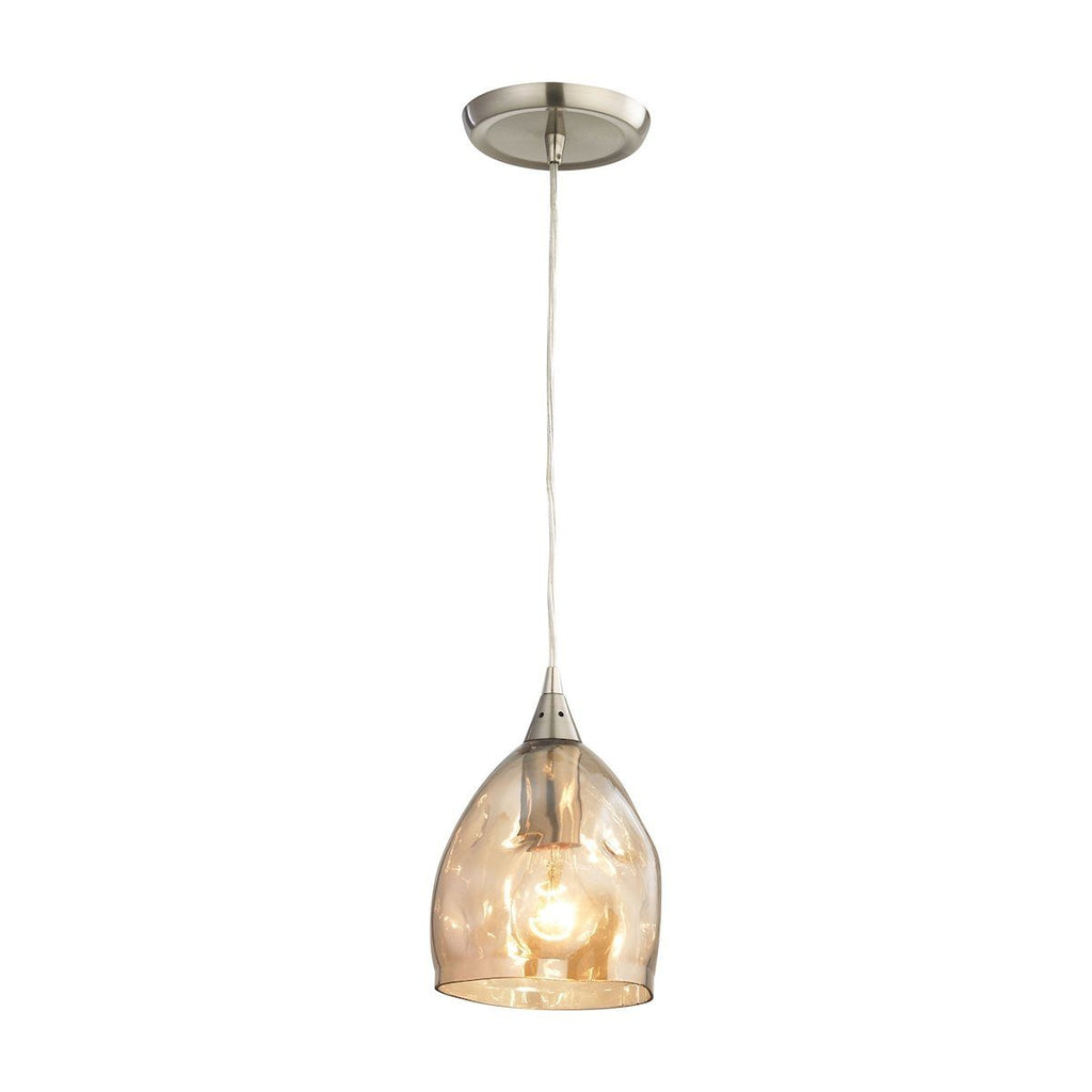 Niche Pendant In Satin Nickel And Champagne Plated Glass Ceiling Elk Lighting