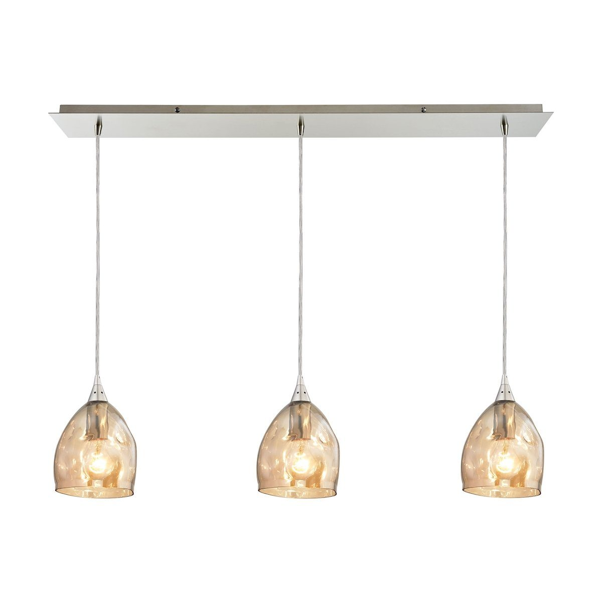 Niche 3 Light Pendant In Satin Nickel And Champagne Plated Glass Ceiling Elk Lighting