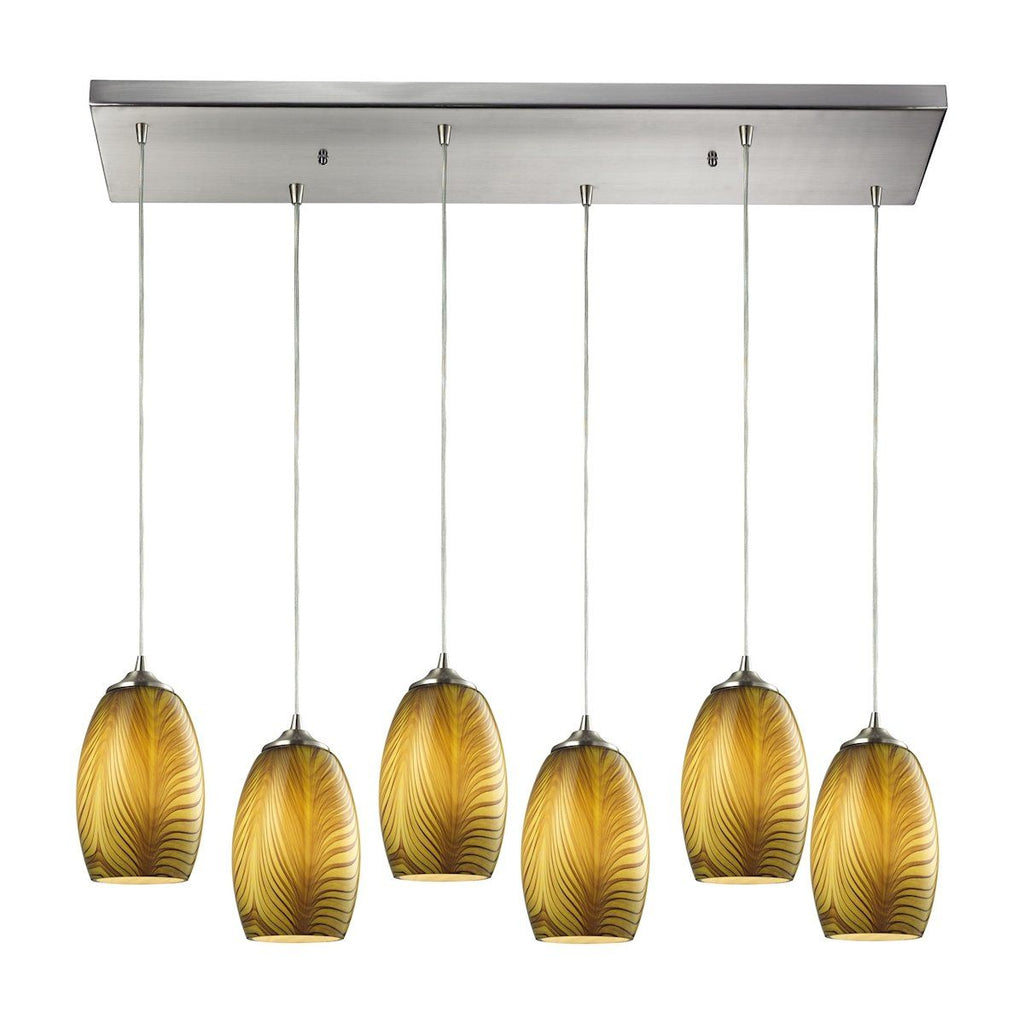 Tidewaters 6 Light Pendant In Satin Nickel And Amber Glass Ceiling Elk Lighting