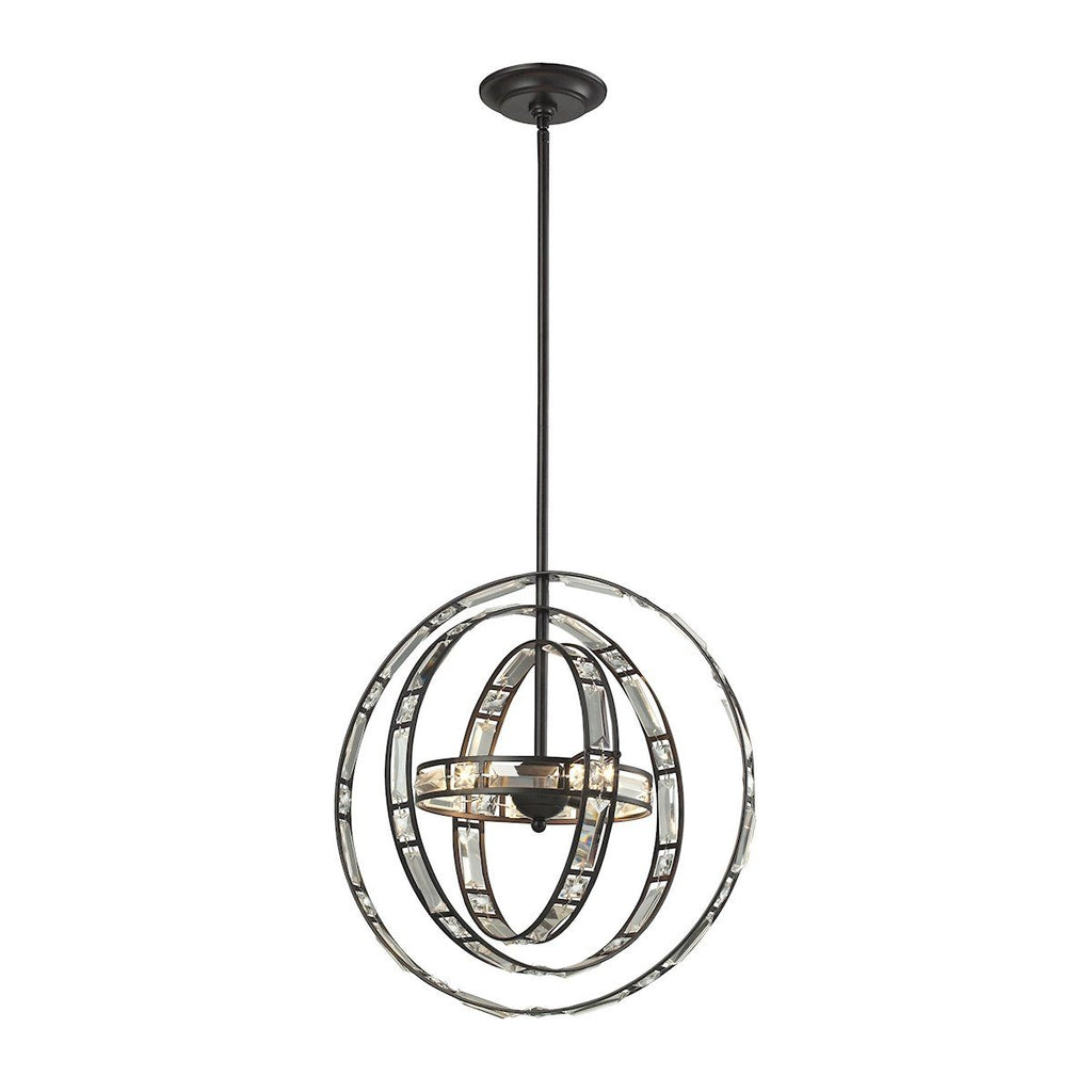 Crystal Orbs 3 Light Pendant In Oil Rubbed Bronze Ceiling Elk Lighting