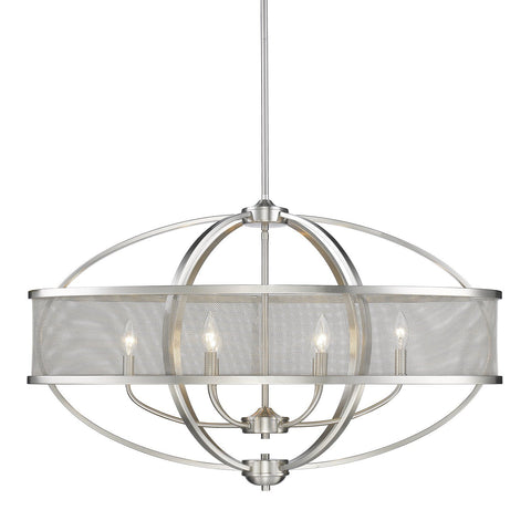 "Colson 36""w Linear Pendant (with shade) in Pewter Ceiling Golden Lighting"