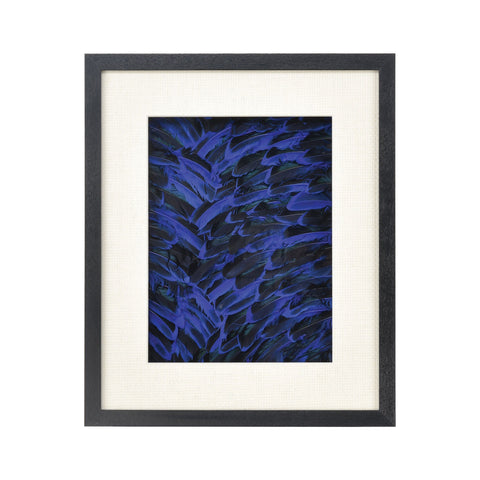 Neon Feather Wall Decor in Blue and Black