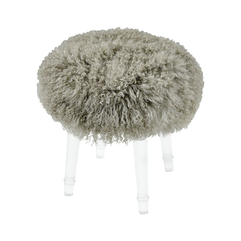 Best in Show Light Grey Genuine Fur Mohair Stool with Clear Acrylic Legs
