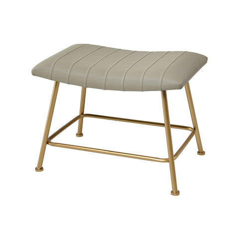 West Side Stool in Grey Faux Leather and Gold