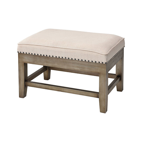 Midnight Cowboy Stool in Cream Linen and Silver with Antique Seating ELK Home
