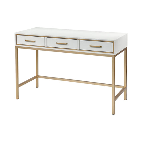 Sands Point 3-Drawer Desk in Off-white and Gold