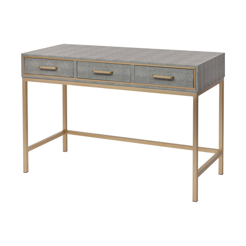 Sands Point 3-Drawer Desk in Grey and Gold