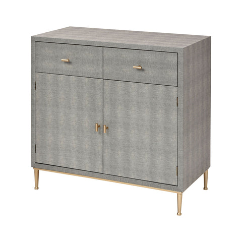 Sands Point 2-Door 2-Drawer Cabinet in Grey and Gold