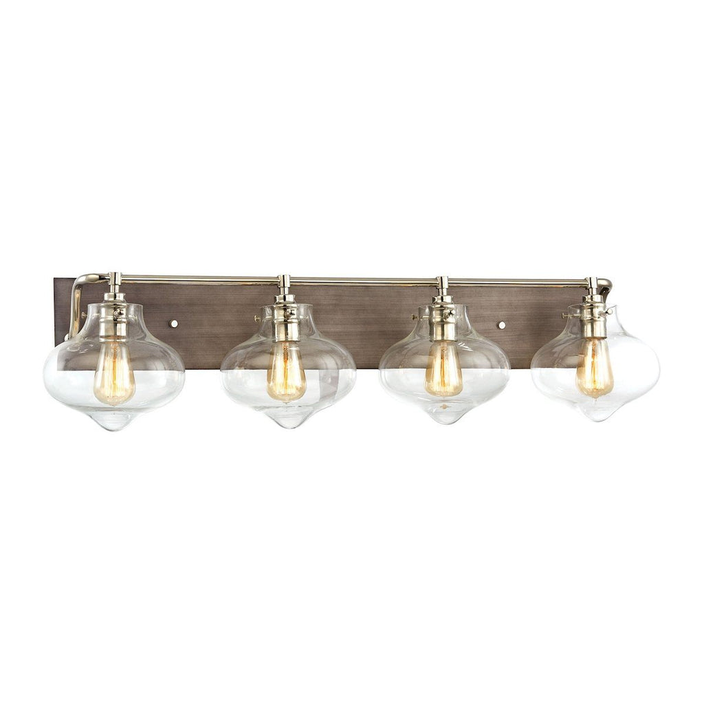 Kelsey 4 Light Vanity In Weathered Zinc With Polished Nickel Accents Wall Elk Lighting