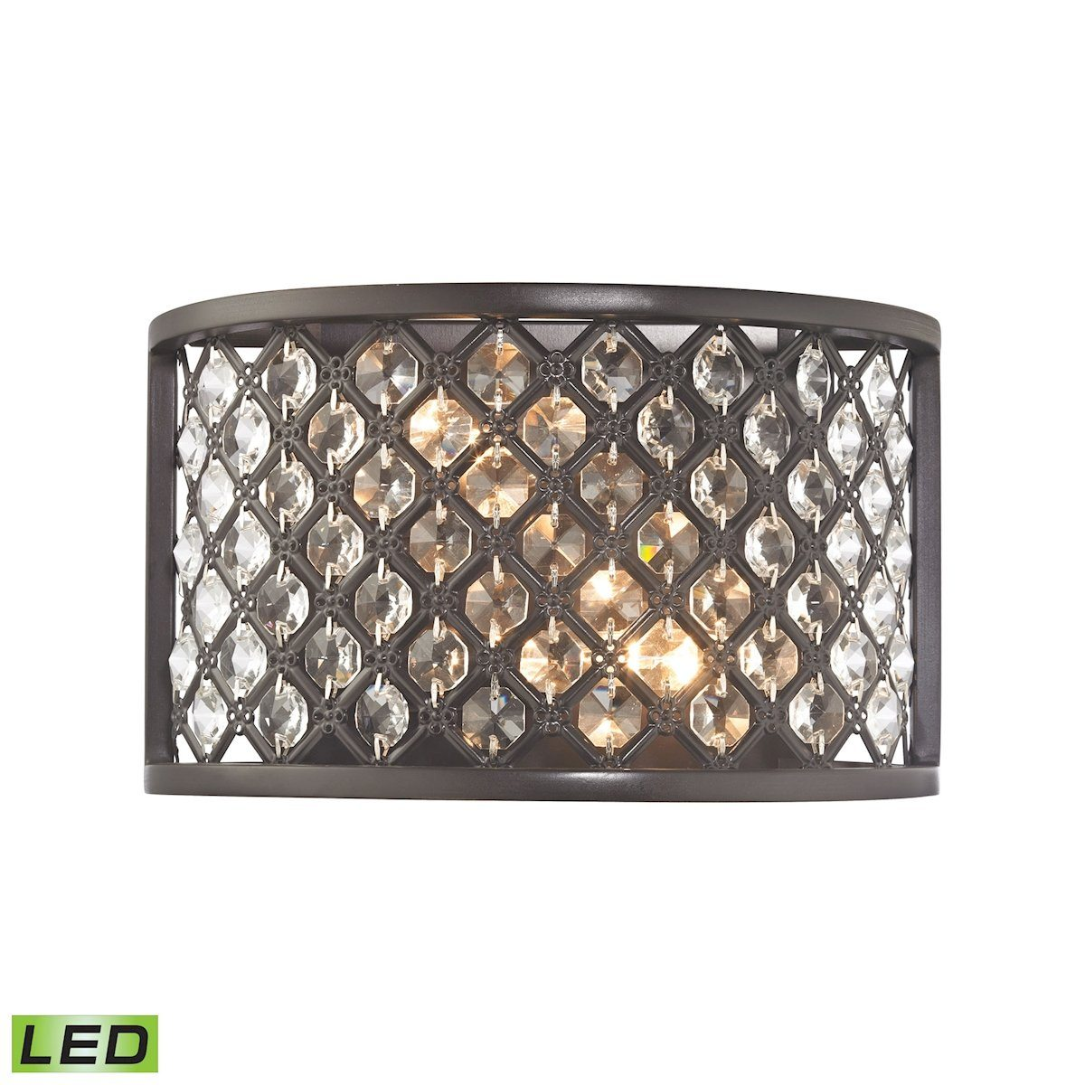Genevieve 2 Light LED Wall Sconce In Oil Rubbed Bronze Wall Sconce Elk Lighting