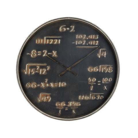Formula Wall Clock in Black and Antique Gold
