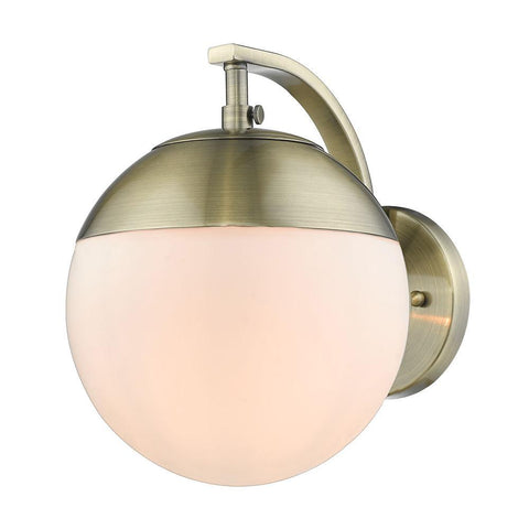 Dixon Sconce in Aged Brass with Opal Glass and Aged Brass Cap