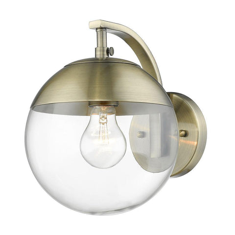 Dixon Sconce in Aged Brass with Clear Glass and Aged Brass Cap